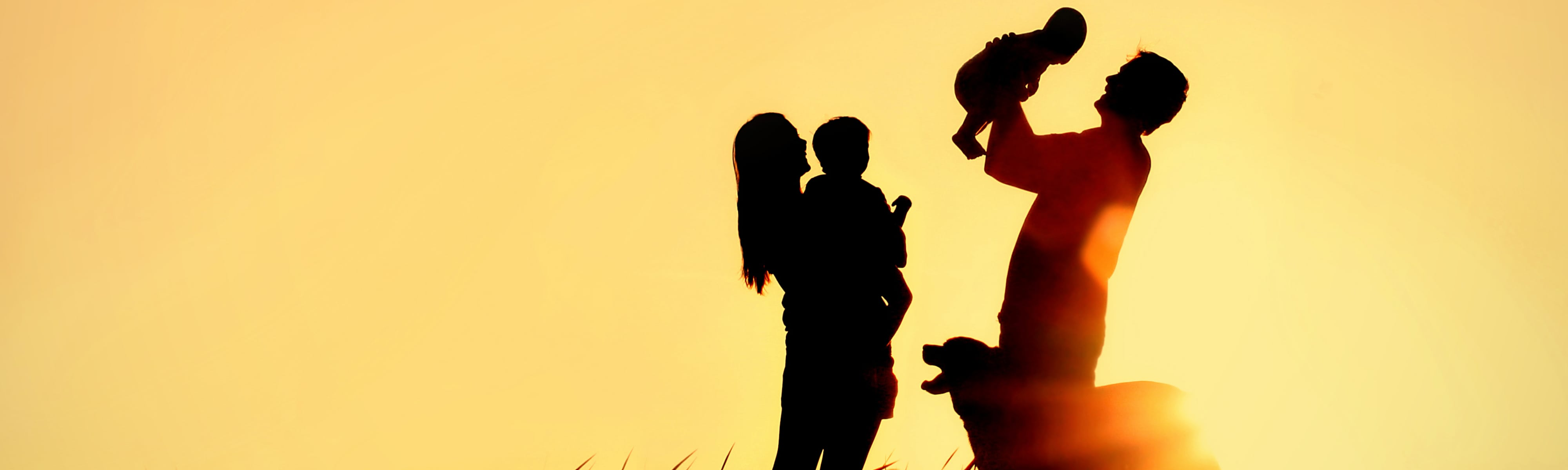 Silhouette of family at sunset.